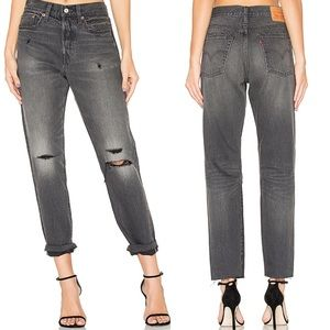 NEW Levi's Wedgie Fit Gray Distressed Mom Jeans 26